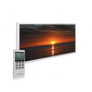 580W Custom NXT Infrared Heating Panel Sunset At The Sea Print White Frame - Grade A