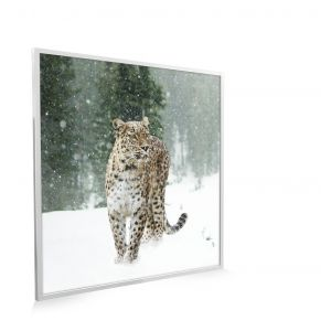 595x595 Persian Leopard Printed Classic Infrared Heating Panel 350W White Frame - Grade A