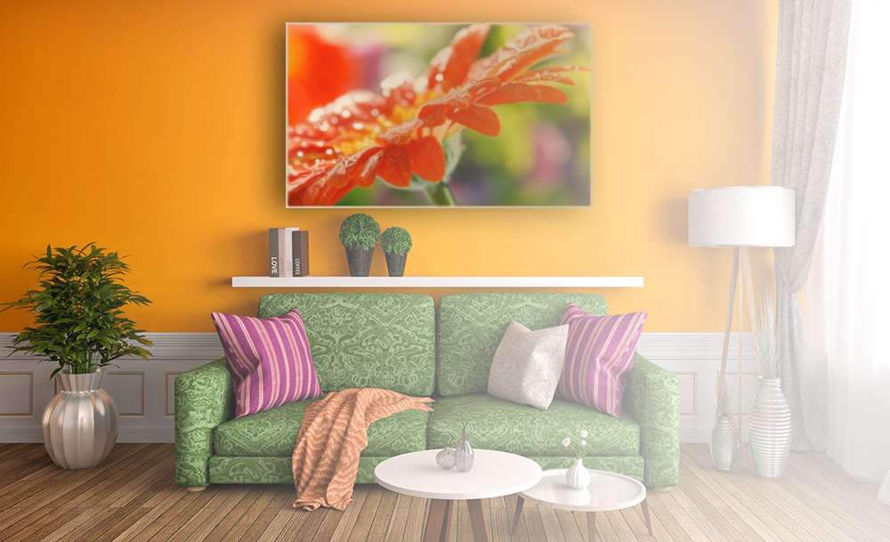 Living Room With A Wall Flower Printed IR Heating Panel