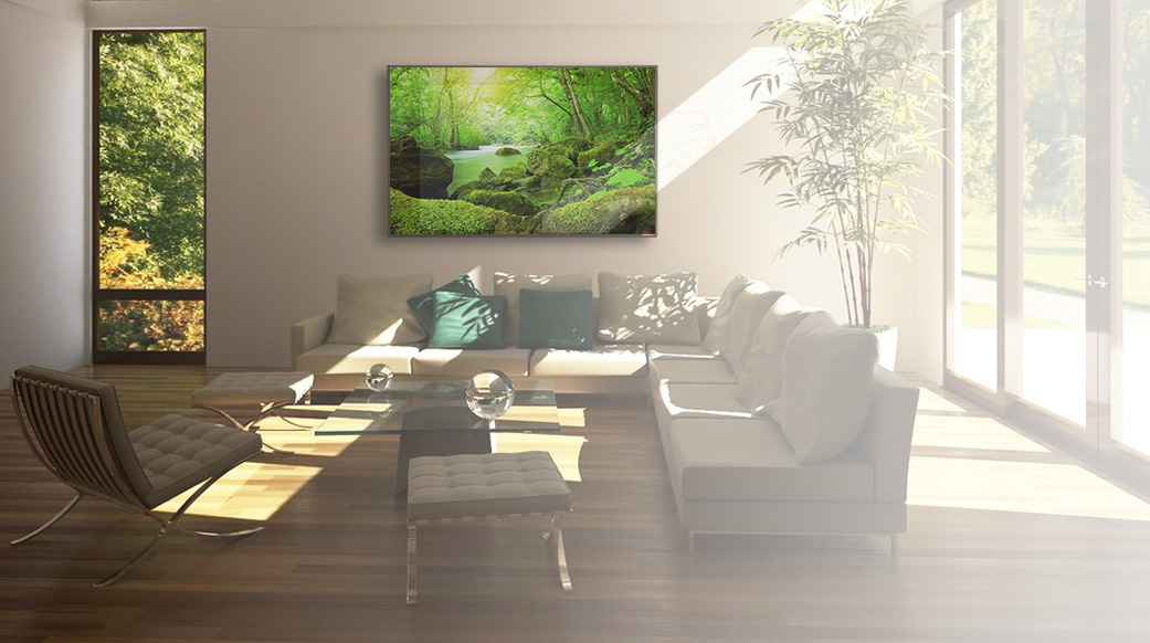 Living Room Open Space With A Wall Forest Printed IR Panel