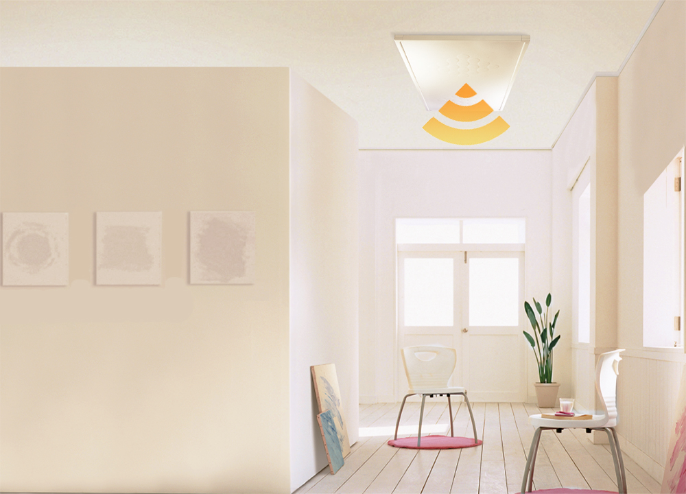 Living Room With A Ceiling White IR Panel Heater